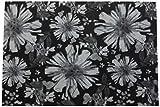 Catral 40020030 Alfombra Cocina y Pasillo Flores, Poliester y Caucho, Negro y Blanco, 50 x 75 cm