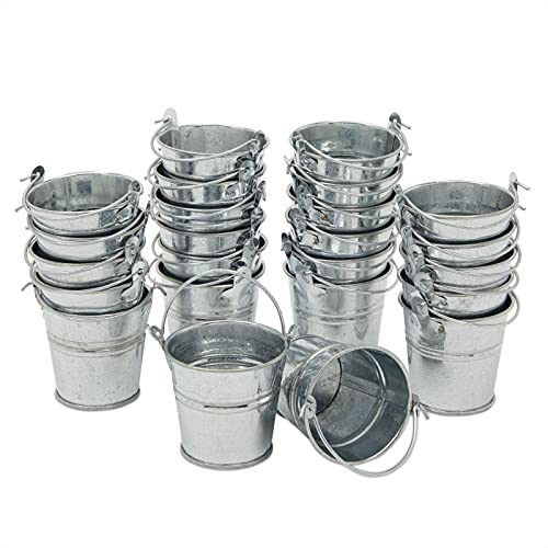24 Pack Mini Metal buckets, Small Tin Pails with Handles for Party...