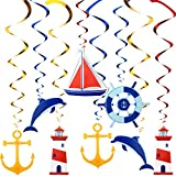 WILLBOND 20 Remolinos Colgante Náutico Decoraciones de Fiesta Temáticas de Marinero Náutico de Colgando de Ancla de Crucero para Suministros de Fiesta Despedida de Soltera Cumpleaños Baby Shower