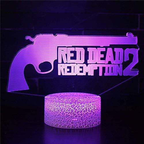 Luz de la Noche del 3D, LED Lámpara de Mesa de Cabecera 16 colores de dormir con el botón de tacto inteligente Lindo regalo de calentamiento Decoración creativa ideal de arte y artesaníaMUERTO ROJO