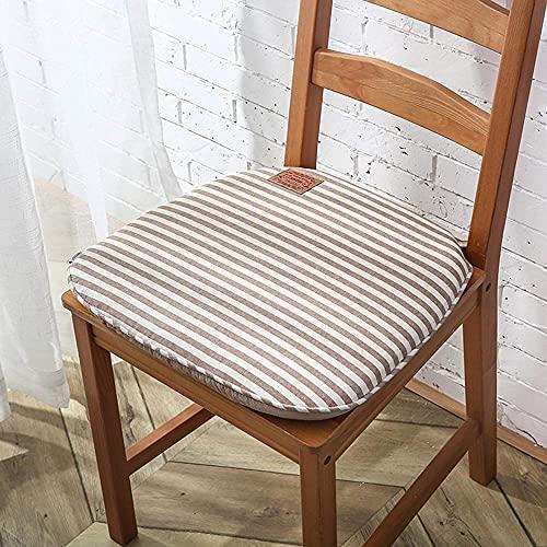 Cojín de asiento de silla con lazos, antideslizante, diseño de rayas, cojín cuadrado redondeado para silla de escritorio, silla de comedor, color marrón