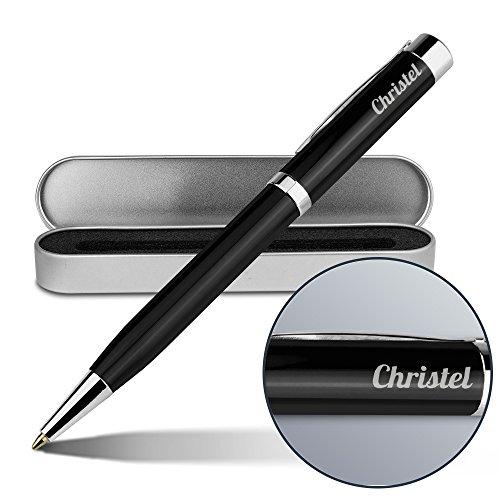 Kugelschreiber mit Namen Christel - Gravierter Metall-Kugelschreiber von Ritter inkl. Metall-Geschenkdose
