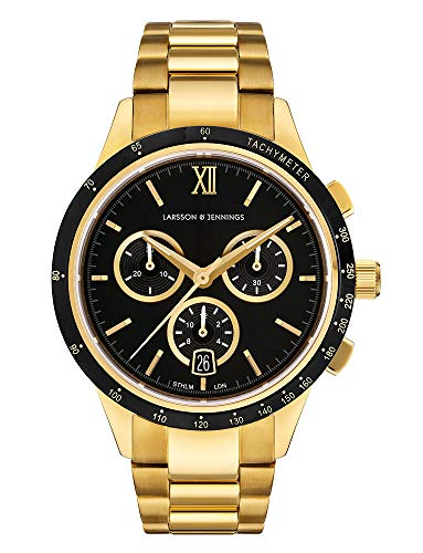 Larsson & Jennings Rally Unisex Watch with 38mm Black dial and Gold Gold Plated Stainless Steel Strap CHR38-3LGLD-C-Q-P-GBB-O.