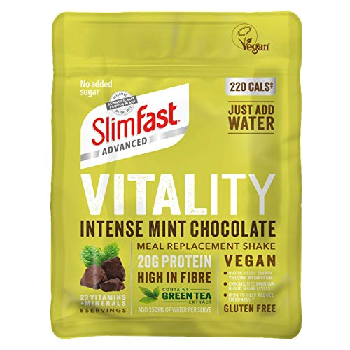 SlimFast Advanced Vegan Vitality High Protein Meal Replacement Powder Shake, Mint Chocolate, 432g