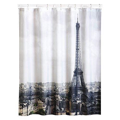"""MSV Anti-Schimmel Duschvorhang - Anti-Bakteriell, waschbar, wasserdicht, mit 12 Duschvorhangringen - Polyester, """"Paris"""" 180x200cm"""