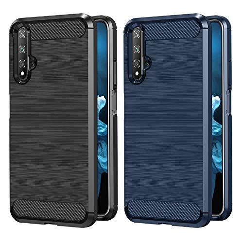 [2 Stücke] VGUARD Hülle für Huawei Nova 5T / Honor 20 / Honor 20 Pro, Carbon Faser Hülle Tasche Schutzhülle mit Stoßdämpfung Soft Flex TPU Silikon Handyhülle (Schwarz+Blau)