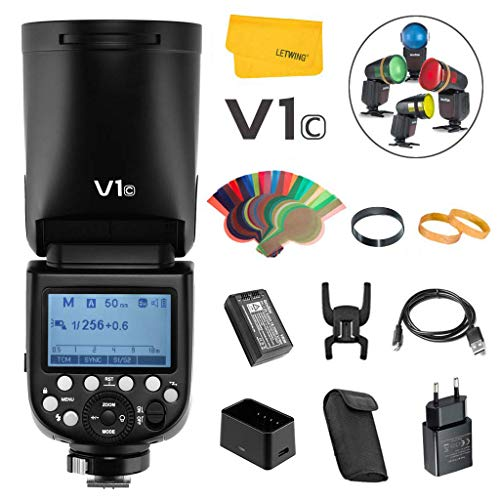TTL 1//8000 HSS 1.5s Recycle Time 2600mAh Lithium battery Godox V1-S 76W Round Head Speedlite Flash with AK-R1 Round Head Flash Accessory Kit for Sony
