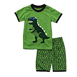 Euone Dinosaur Printed Tops Squama Shorts Pants for 0-6 Years Old Boys Pajamas (4-5 Years Old, Green)