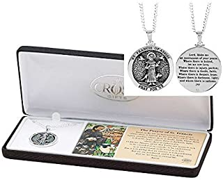 Dicksons Saint Francis of Assisi Pray for Us Engraved Pendant 24 Inch Neckace in Jewelry Box with Prayer Card