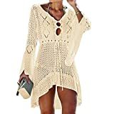 Jinsha Gestrickte Bikini Cover Up Strandponcho Strandkleid für Damen Sommer Pareos (Beige)
