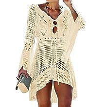 Jinsha Vestido de Playa - Mujer Pareos y Camisola de Playa Sexy Hueco Traje de Baño Punto Bikini Cover up (Beige)