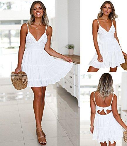 ECOWISH ECOWISH V Ausschnitt Kleid Damen Spitzenkleid Träger Rückenfreies Kleider Sommerkleider Strandkleider Weiß S