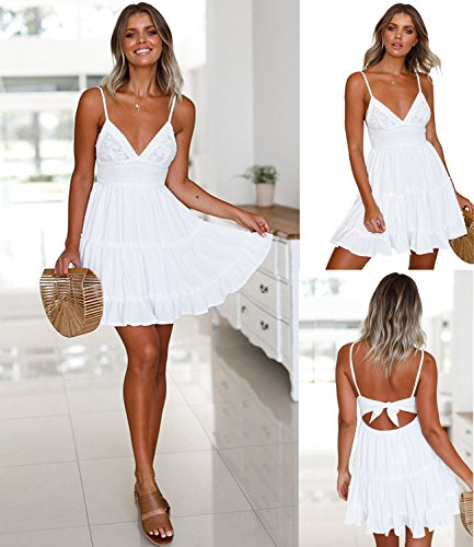 ECOWISH Womens V-Neck Spaghetti Strap Bowknot Backless Sleeveless Lace Mini Swing Skater Dress White Medium