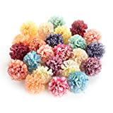 Flower heads in bulk wholesale for Crafts Artificial Silk Pompom Carnation Peony Fake Flowers Head Hydrangea Wedding Home Decoration DIY Scrapbooking Party Birthday Decor 30pcs 4.5cm (Colorful)