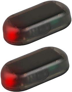 G·PE House 2pcs Car Solar Power Simulated Dummy Alarm Warning Anti-Theft USB Charger LED Flashing Security Light Fake Lamp...