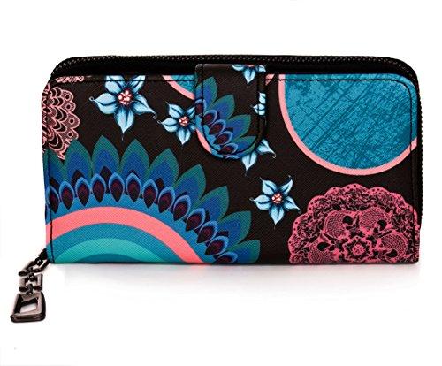 Damen Geldbörse Portemonnaie bunt groß mit Blumen-Print XL Damenbörse mit Reißverschluss und extra viele Kartenfächer in Farben Schwarz Blau Beige Rosa Rot Pink von Established SEVENTY9, Farbe:Türkis