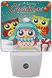 1 paquete de Navidad búho pájaro búho copo de nieve LED luz nocturna crepúsculo al amanecer Sensor Plug in Night Home Decor lámpara de mesa para adultos