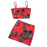 ZAFUL - Mini abito da donna Dragon Print orientale con bretelle Colore: rosso XL