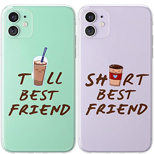Mertak TPU Couple Cases Compatible with iPhone 12 Pro Max Mini 11 SE Xs Xr 8 Plus 7 6s Friendship Tall Short Design Cute Cover Silicone Clear Slim Girly Coffee Anniversary Funny Best Friend