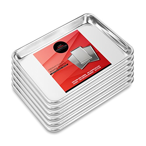 Last Confection 6 Cookie Baking Sheets 9' x 13' - Small Rimmed Aluminum Jelly Roll Trays - Quarter Sheet Pans