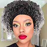 Aisaide Headband Wigs for Black Women, Head Wrap Wigs 2 in 1 Ombre Gray Kinky Curly Wigs with Headband Attached Synthetic Curly Gray Hair Wigs Full Scarf Wig Headband Wigs Short Curly Grey Wigs