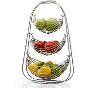 """Sagler 3 Tier Stainless steel large bowl-useful for fruit storage basket, 14"""" W, 23"""" H, 12"""" D"""