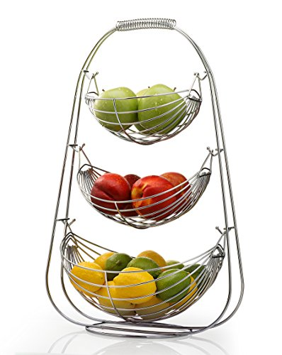 Sagler 3 Tier Stainless steel large bowl-useful for fruit storage basket, 14