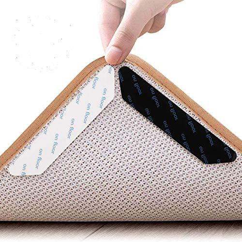tiopeia 24 Stück Teppichgreifer Antirutschmatte, Anti Rutsch Antirutschmatte, Wiederverwendbare und Washable Rug Gripper, Teppichunterlage Teppich Aufkleber