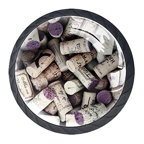 Perillas del gabinete 4pcs Tiradores vidrio cristal,botella de vino corchos ,para puerta mueble abierta o cajón