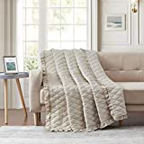 Bourina Quilted Throw Blanket with Ruffles Pre-Washed Microfiber Ultra Soft Cozy Lightweight for Couch Bed Sofa Throw Blankets,Beige,50'x60'