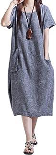 [ニーマンバイ] 便利な ポケット付き ゆったり 春夏 秋 バルーンワンピース M~XXL レディース