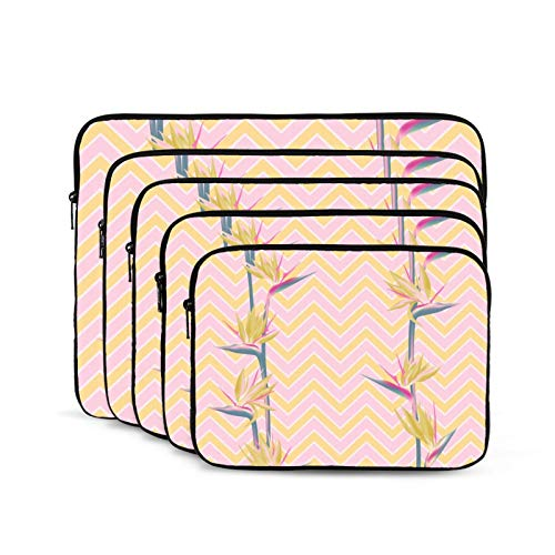 Computer Bag Liner Carrying Case Water-Repellent Fabric Business Casual or SchoolBlooming Pink Tropical Flower Bird Paradise-15 inch