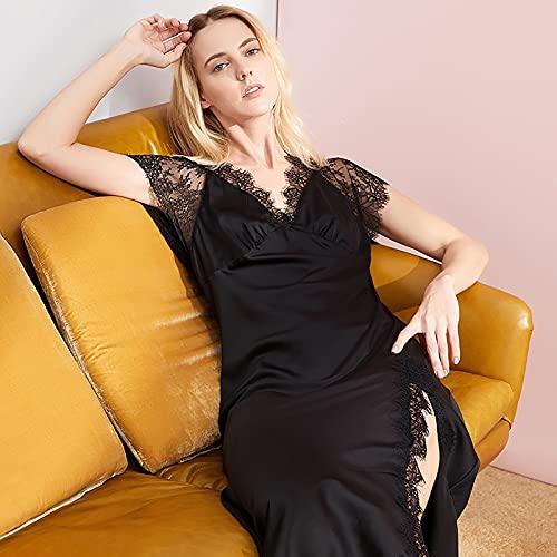 BBZZ Ladies Pijamas de Seda de imitación de Alta Gama, Ropa de hogar Sexy Mediana con Tirantes, Cuello en V Profundo y Extremos divididos,Negro,L