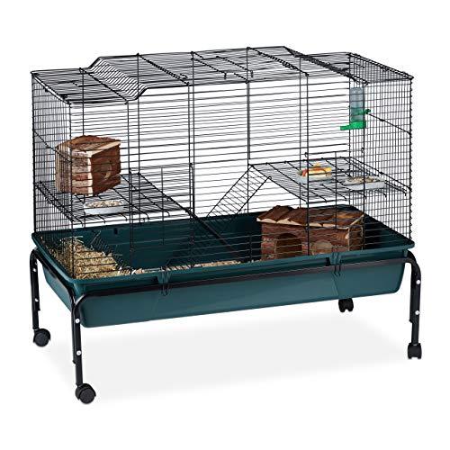 Relaxdays Villa hamsterstok op wieltjes, voor knaagdieren en 2 niveaus, met ladders, deuren, metalen kleine dieren, 85 x 100 cm, groen