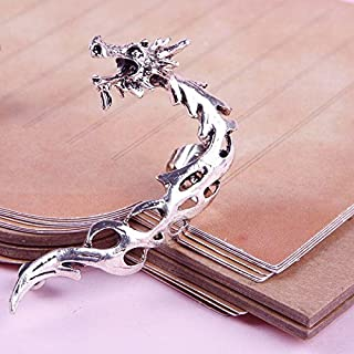 1 Piece Retro Gothic Rock Punk Hollow Roaring Dragon Ear Cuff Wrap Clip Stud Earrings Silver