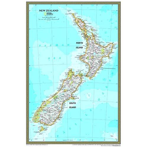 wzgsffs National Geographic Atlas Nueva Zelanda Mapa de la Pared Cartel Antiguo Sala de Estar Casa de la Pared Decoración del Arte Impresión de la Lona Pintura-60x90cm Sin Marco
