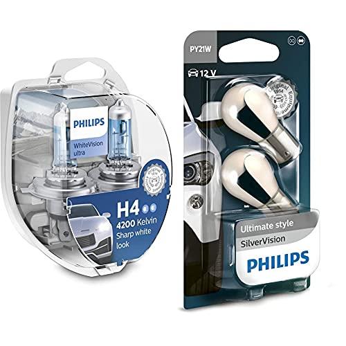 PHILIPSWhitevision Ultra Effetto Xenon H4 Lampada Fari, Bianco Intenso - 4.200K, Confezione Doppia & Automotive Lighting 12496Svb2 Py21W Silver Vision Lampadine Indicatori, Set Di 2 Pezzi, 12V