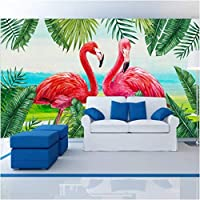 Iusasdz カスタム壁紙3D壁画北欧スタイル手描き植物フラミンゴリビングルーム寝室子供部屋壁紙350X250Cm