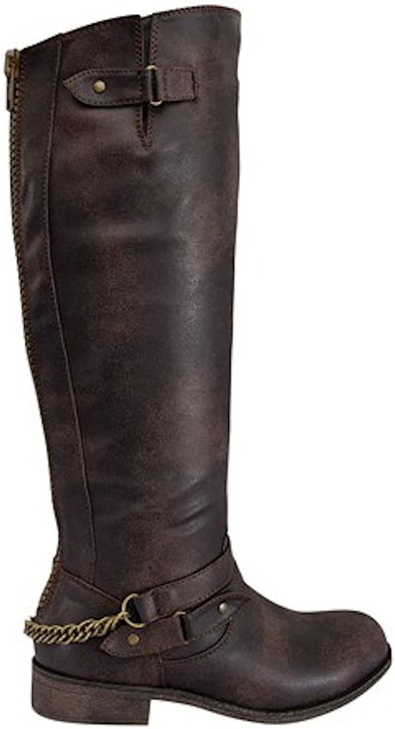 La Bella Fashion Women's Faux Leather Knee High Chunk Heel Strappy Buckle Riding Boots in Black, Tan, Brown