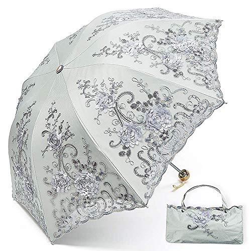 Mitrc Damen Sonnenschirm Schutz UV Compact Travel Folding Leichtgewicht für Damen Windproof Sonnenschirm Pink2,Silver