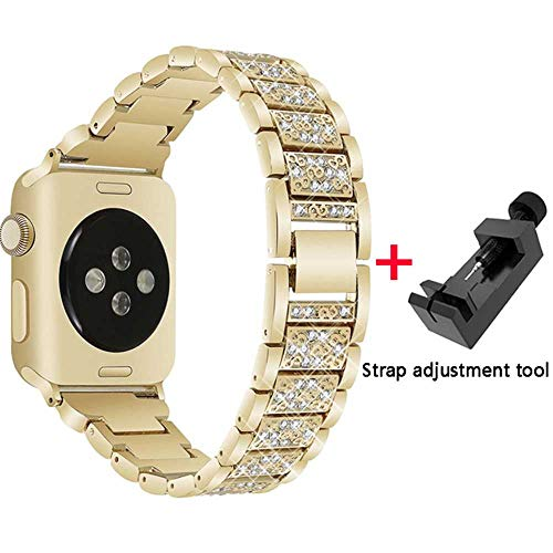 LANGY diamantarmband + behuizing voor Apple Watch 40mm 44mm 38mm 42mm Iwatch serie 5 4 3 2 1 armband Apple Watch roestvrij stalen armband dames, 38mm, goud