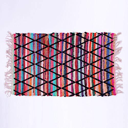Homevibes Alfombra Multicolor con Flecos, Estilo Hindu, Tejida A Mano, Medidas 50x80cm, Alfombra de Comedor, Alfombra Multicolor con Flecos, Alfombra 100% Algodon