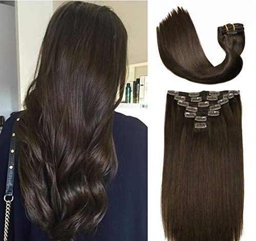 Clip In Hair Extensions Human Hair New Version Thickened Double Weft Brazilian Hair 120g 7pcs Per Set 9A Remy Hair Dark Brown Full Head Silky Straight 100% Human Hair Clip In Extensions(22 Inch #2)