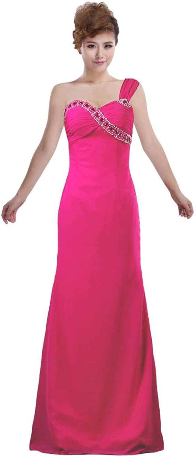 ANTS Women's Charming One Shoudler Party Dress Beaded Evening Gown