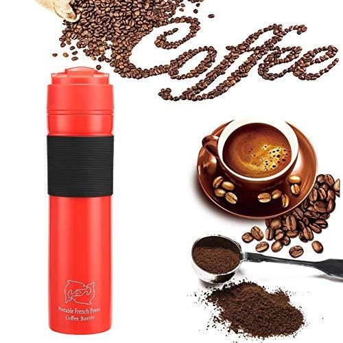 SDTSDZS Portátil de Viaje Prensa Francesa Taza de té y una Botella Cafetera, 12 Oz, Viajes Vaso de 350 ml (Color : Red)
