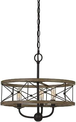 Cal Lighting FX-3685-3 40W X 3 Modica Metal Pendant Fixture (Edison Bulbs Not Included), Distress Ivory/Iron