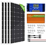 ECO-WORTHY 800W 24V Solar Panel Off Grid System Kit: 4pcs 195W Mono Solar Panel + 3500W 24V-110V Inverter + 60A PWM Charge Controller for RV, Boats, Homes