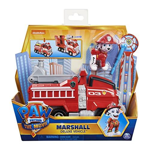 PAW PATROL Marshall's Deluxe Movie Transforming Fire Engine Toy Car con Figura de accin Coleccionable, Juguetes para nios a Partir de 3 aos