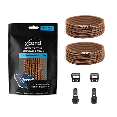 Xpand Quick Release Round-Lacing No Tie Shoelaces System with Elastic Laces - One Size Fits All Adult and Kids Shoes… (Brown (Patterned))