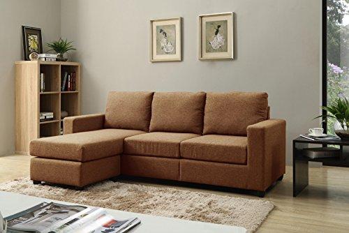 NHI Express Alexandra Convertible Sectional Sofa, Brown